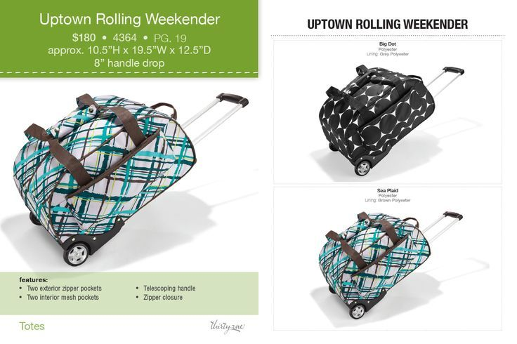 Uptown Rolling Weekender!  If you are interested in any of these amazing products from Thirty-One, please just contact me!! https://www.mythirtyone.com/elizabethbagwell/