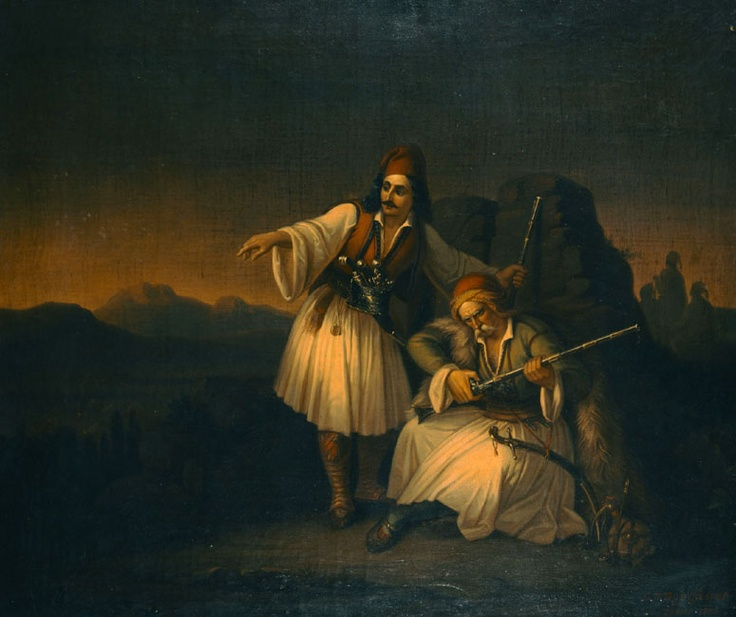Βρυζάκης Θεόδωρος (1819 - 1878) Δύο πολεμιστές, 1855. Λάδι σε μουσαμά. Συλλογή Εθνικής Πινακοθήκης. Vryzakis Theodoros (1819 - 1878) Two Warriors, 1855. Oil on canvas. National Gallery collection.