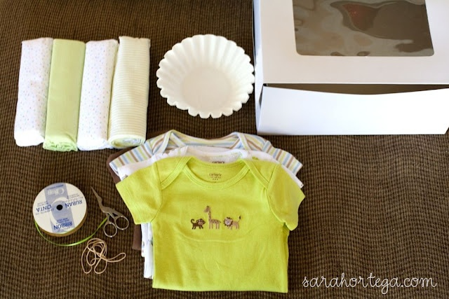 """baby gifts! baby clothes """"faux"""" cupcake"""