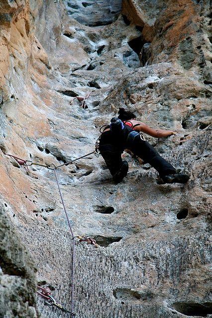 Pocket climbing.