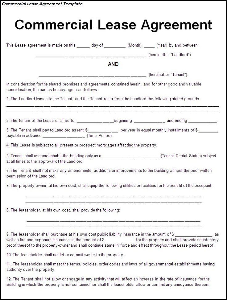 Sample Blank Rental Agreement. Make Your Own Contract 372 Best