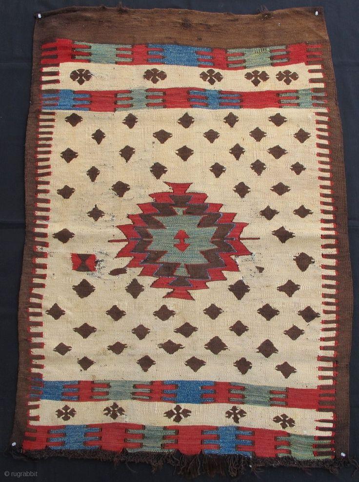 Small Format Anatolian Mut Kilim100x140cmmid 19th Centuryrare And Beautiful