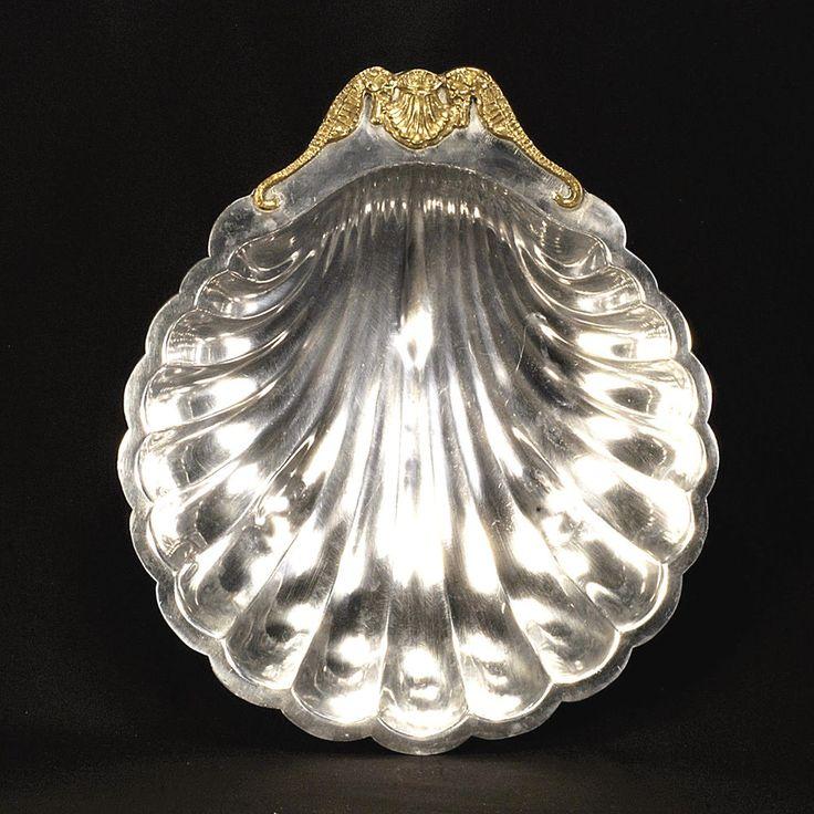 "Arthur Court Shell Bowl with Brass Seahorse c1978 13 ¼"" x 15 ⅜"" #ArthurCourt"