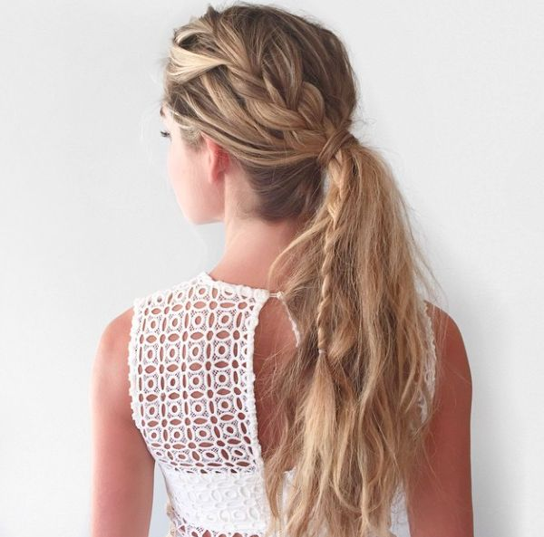 Braid through ponytail