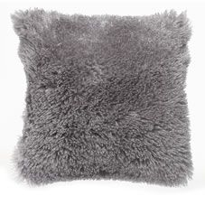 Faux Mongolian cushion, 43cmx43cm, cover and reverse 100 per cent Polyester, filling 100 per cent Polyester. Dry Clean only. WARNING Do not place on light coloured furnishings or leather as some dye transfer may occur. Keep away from fire. Always read label.