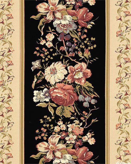 Country French - Climbing Flowers - Black