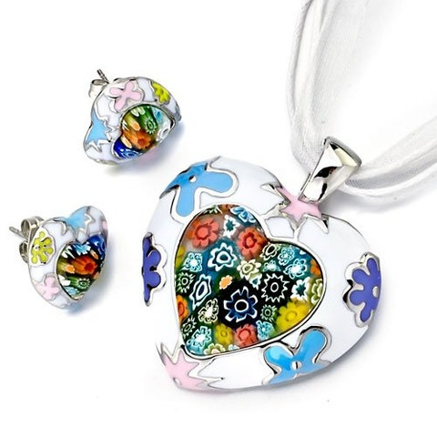 Colourful Murano Glass Millefiori Floral Heart Pendant and Earring Set  $24.99