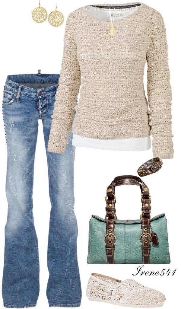 Soft sweater, round gold jewelry, comfy jeans, bright colorful purse