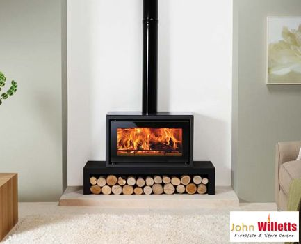 Studio 1 incorporates the impressive firebox performance of a cassette fire with the welcoming presence of a stove. Available with a number of optional extras to help you create the right look for your home. The Riva Studio is shown on a Riva Bench but can also be hearth mounted. (Heat Output 5kw)