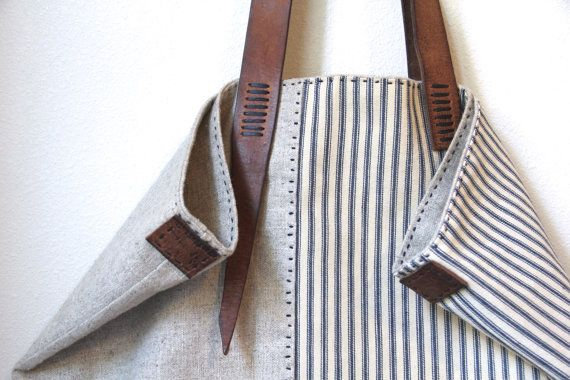 Sail Away Tote Antique Ticking Stripe Cotton by rizomdesigns