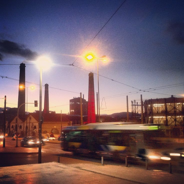 Technopolis by sunset. Walking Athens app, Route 15 - Gazi (Download for FREE) #travel #guide #iPhone #sky #gaslight