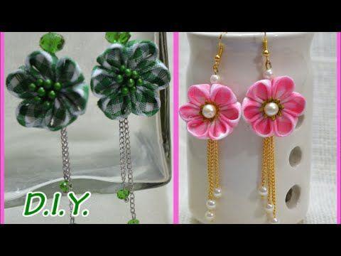 ❃ ❁ ❀ D.I.Y. Kanzashi Flower Earings - Tutorial ❀ ❁ ❃ - YouTube