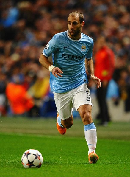 Pablo Zabaleta of Manchester City in action during the UEFA Champions League Round of 16 first leg match between Manchester City and Barcelona at the Etihad Stadium on February 18, 2014 in Manchester, England.