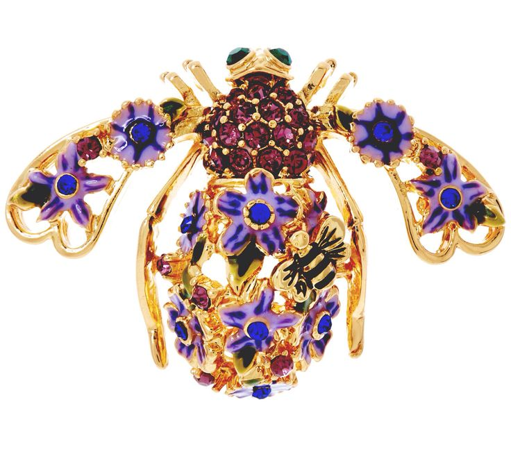 Joan Rivers Lilac Garden Party Bee Pin