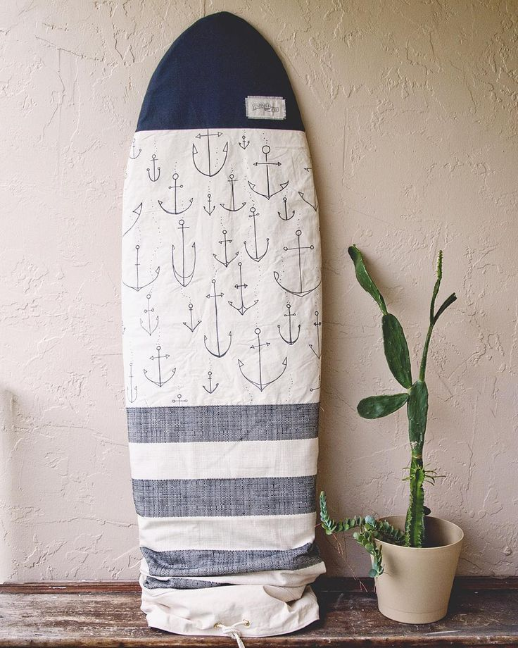 """And then I drew anchors all over it... Surf Bag Boardbag Retro shape, fits boards up to 6'2"""""""