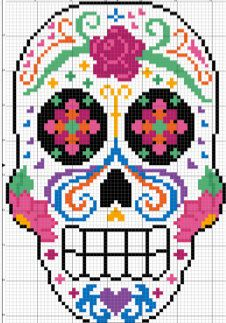 Celebrate life and color with this sugar skull pattern. Perfect for Dia de Los Muertos! Pattern makes a 5x7 sampler. Moderate skill level. This digital download PDF shows the pattern two ways: in color blocks and in symbols, both with legends. The pattern uses DMC thread colors and has a stitch count grid and number markers on box axises.