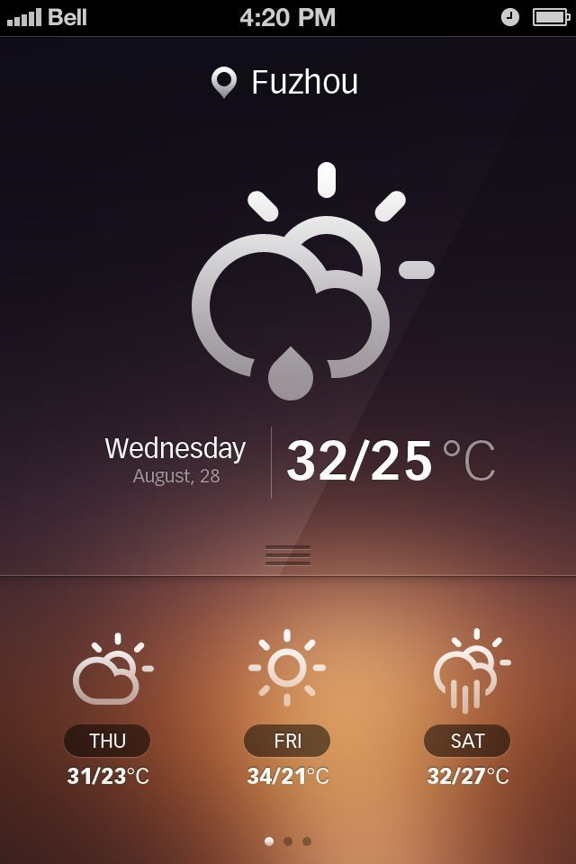Inspiration Mobile #19 : Applications météo | Blog du Webdesign