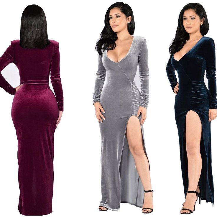 Women'S Long Velvet Evening Cocktail Party Formal Bridesmaid Prom Gown Dress