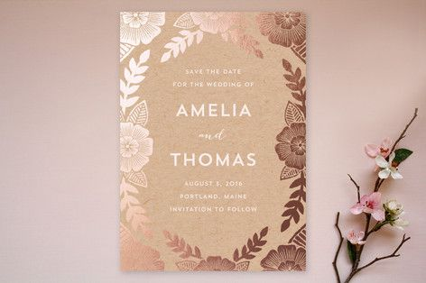 Copper Foil Floral Save the Date Cards by Katharine Watson at minted.com
