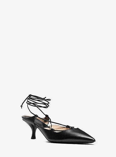 Somers Runway Calf Leather Lace-Up Pump