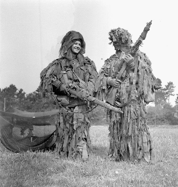 Two snipers of the 1st Canadian Parachute Battalion before D-Day, 17 May 1944. an elite unit that fought within the British 6th Airborne Division in Normandy