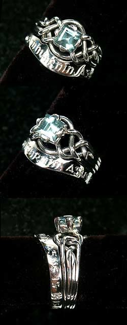 "Custom Gaelic ""I am my Beloved's and my Beloved is mine"" with Aquamarine Avalon Celtic-Inspired Puzzle Ring"