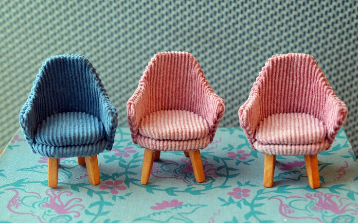 Miniature chairs (Fabrics are from old trousers) by Saara Vallineva