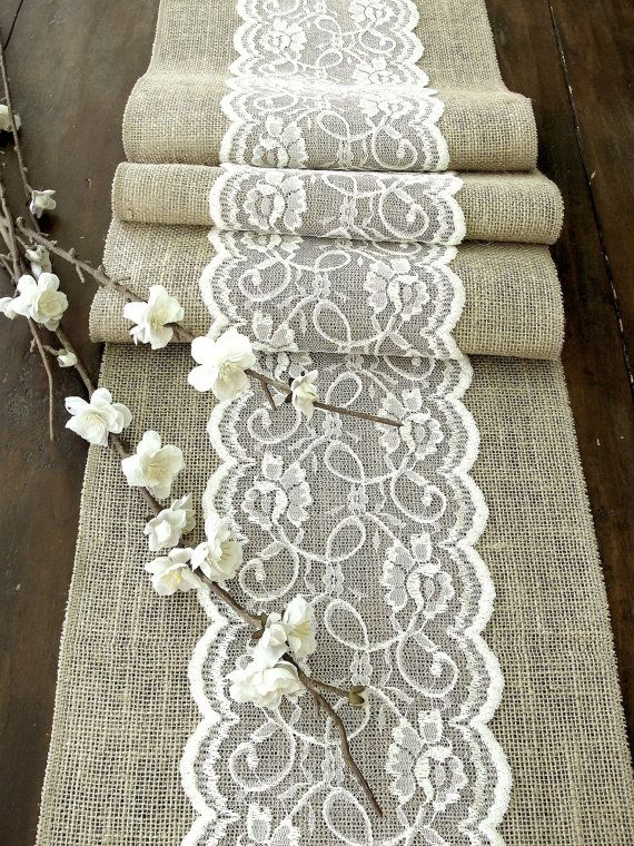 Items similar to Burlap table runner wedding table runner with ivory cream vintage inspired lace rustic chic , handmade in the USA on Etsy