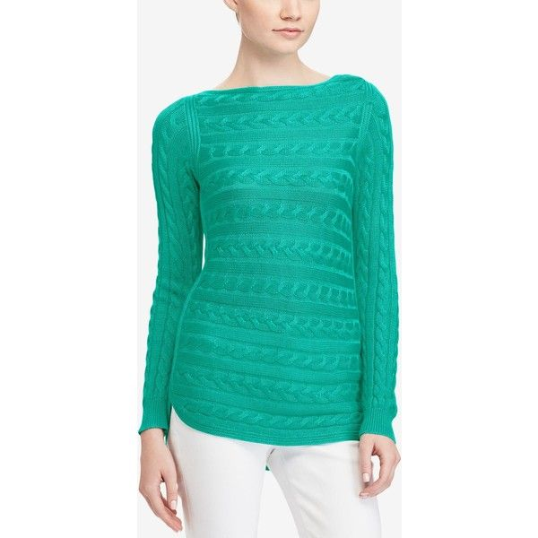 Lauren Ralph Lauren Petite Cable-Knit Sweater ($60) ❤ liked on Polyvore featuring tops, sweaters, tropic turquoise, cable sweater, bateau neck sweater, green sweater, boatneck sweater and chunky cable knit sweater