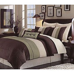 Handcrafted Green Pintuck 8-piece Comforter Set for B's room