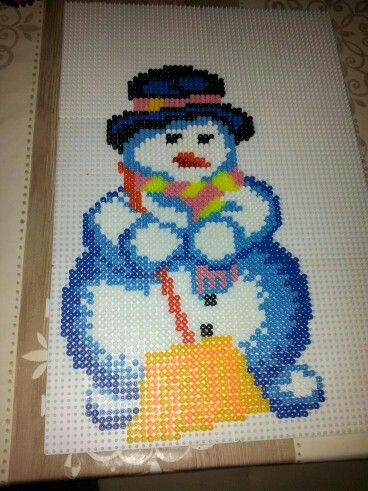 Snowman hama beads by Stephanie Gauthier