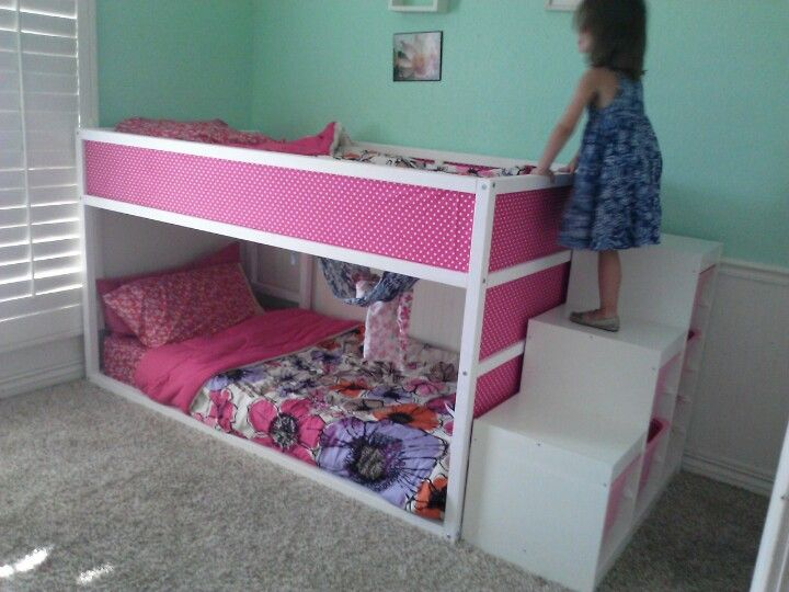 Ikea hack. Girls room. Ikea kura bunk bed and ikea trofast storage