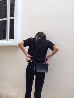 . back on black on black-- skinnies sweater purse