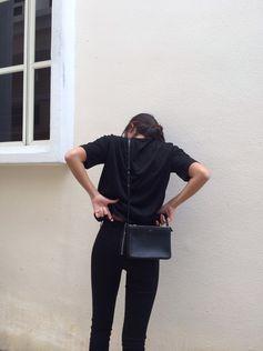 . back on black on black-- skinnies sweater purse