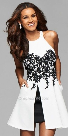 Keyhole Back Applique Cocktail Dress by Faviana #edressme