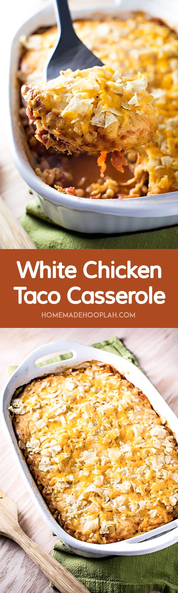White Chicken Taco Casserole! All the deliciousness of chicken tacos, but made the easy way - assembled in 15 minutes and baked in a dish.   HomemadeHooplah.com