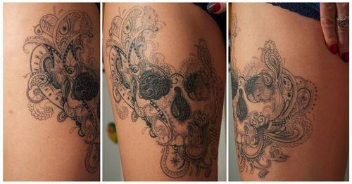 Paisley Bird Tattoo By Skull Back