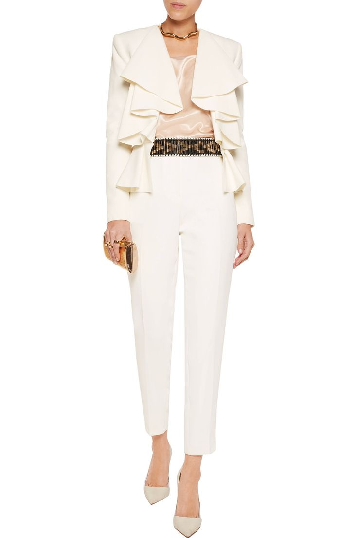 Shop on-sale Balmain Ruffled pleated crepe jacket. Browse other discount designer Jackets & more on The Most Fashionable Fashion Outlet, THE OUTNET.COM