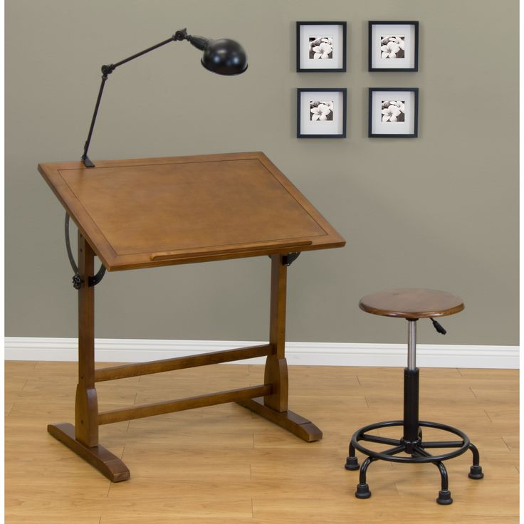 Studio Designs 36 X 24 Inch Vintage Drafting Table Rustic Oak   Overstock  Shopping