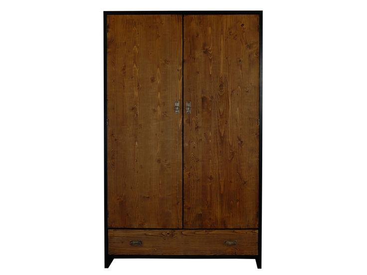 Trend Schmaler Kleiderschrank aus massivem Fichteholz mit zwei T ren Schlafzimmerm bel kaufen bei