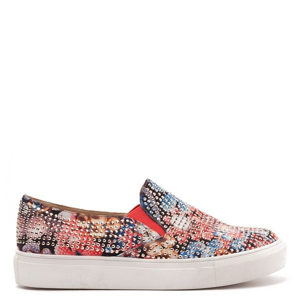 Floral slip-on sneakers with white sole, decorated with gold crystals.