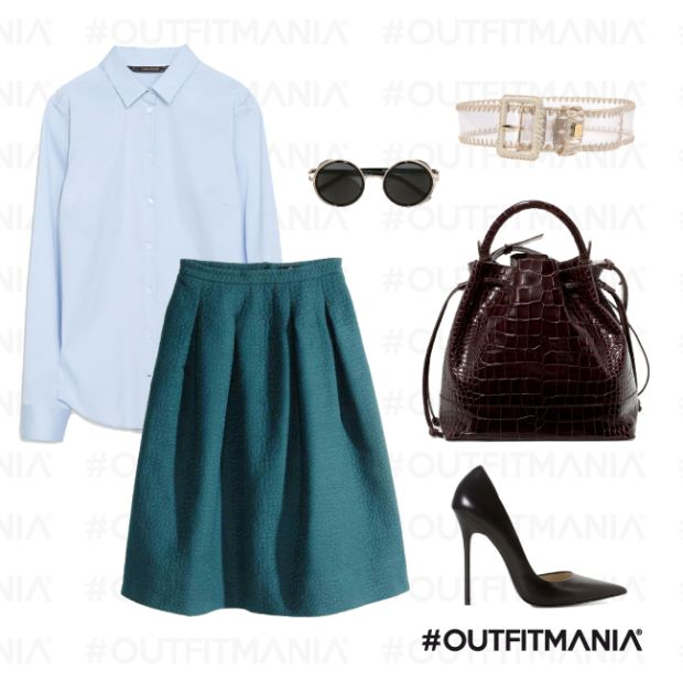 Outfit perfetto per l'ufficio | Una camicia zara in fresco cotone, gonna  H&M svasata e delle comode pumps... | #outfitmania #outfit #style #fashion #dresscode #amazing #skirt #whiteshirt #bag #shoes #cool #musthave #job #power #dress #work #office #zara #trend | CLICCA SULLA FOTO PER SCOPRIRE L'OUTFIT E COME ACQUISTARLO