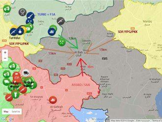 Saat Eskalasi Perang Suriah Menjadi Perang Dunia  Jika terbukti bahwa langkah Turki untuk merebut Al Bab dihalangi YPG/SDF/PKK dari arah Afrin/Tel Rifat dan Manbij maka clash berskala global tidak akan terhindarkan karena Turki akan mewakili umat Islam di satu sisi sedangkan Assad akan dibekingi Rusia plus Iran mewakili blok Timur dan YPG/SDF/PKK jika dibekingi AS akan mewakili blok Barat. Perang Dunia akan berulang ketiga kalinya namun dengan posisi yang sungguh tidak seimbang.  Konten Saat…