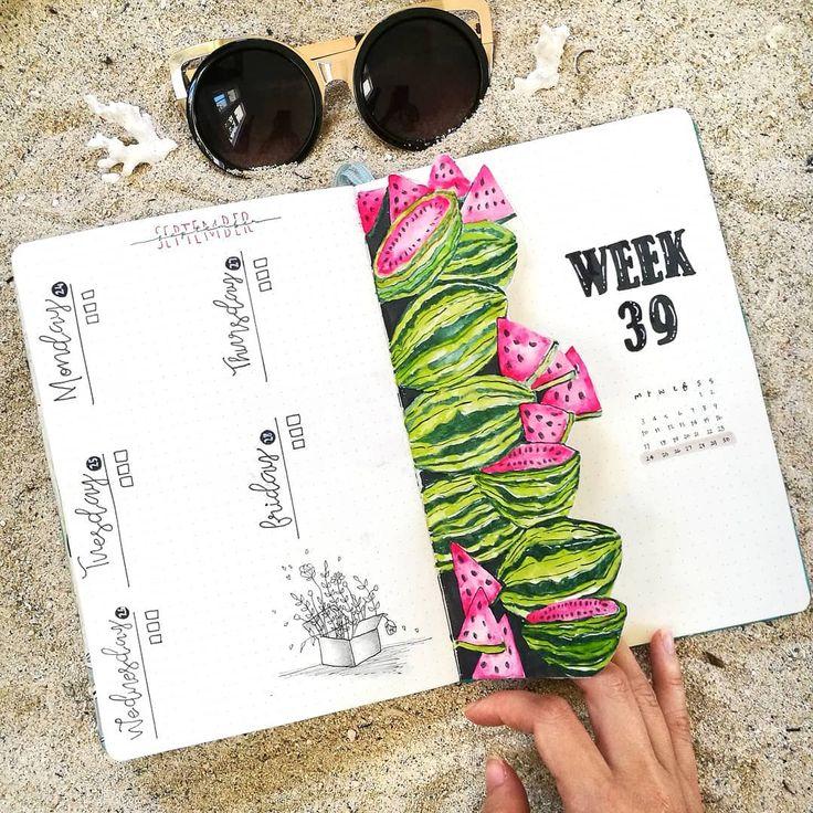 55 Stunning Watermelon bullet journal ideas