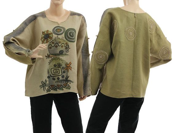 Artsy boho linen long sleeved blouse tunic / in natural olive, handpainted / lagenlook for small or medium sized women S M, US size 6-8/10, $174 !!