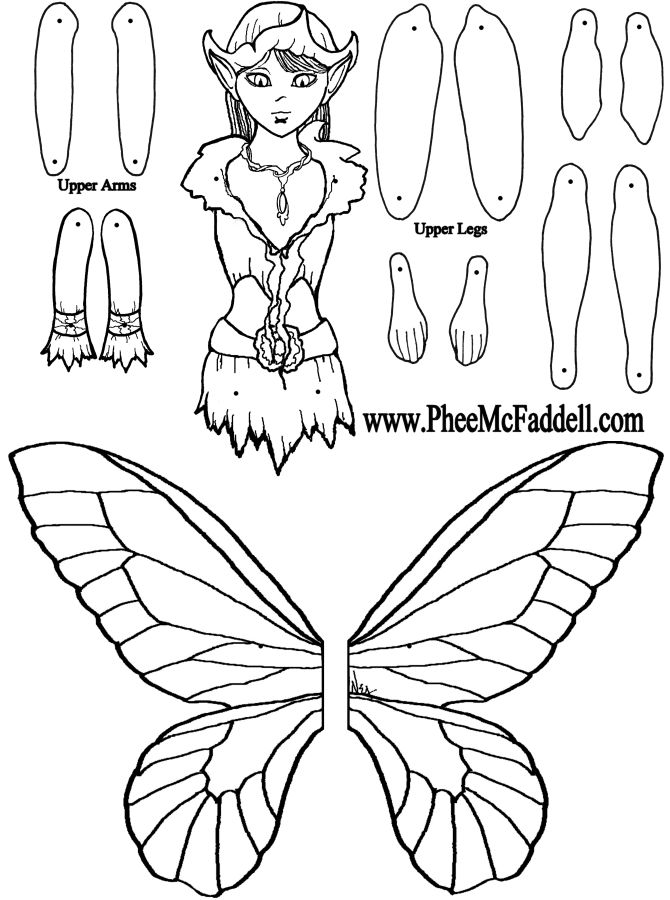 1000 images about dolls paper articulated black for Fairy cut out template