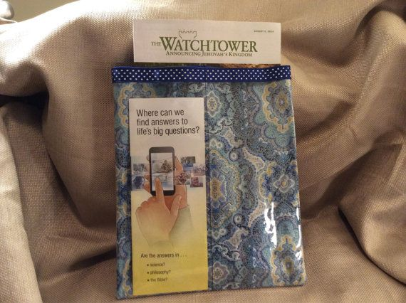 JW Tract Holder  Blue and Green Paisley print with by AshfordCourt, $22.00