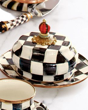 Courtly Check Butter Dish - contemporary - Butter Dishes - Horchow