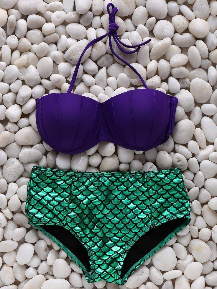 Looks like ARIEL <3   Fish Scale Halter Bikini Set LAKE GREEN: Bikinis   ZAFUL