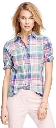 Petite Tailored Fit Cotton Madras Shirt - Shop for women's Shirt - Pink-Green Shirt